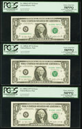 Error Notes:Inking Errors, Fr. 1909-K $1 1977 Federal Reserve Notes. Three Consecutive Examples. PCGS Choice About New 58PPQ.. ... (Total: 3 notes)