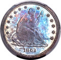 Proof Seated Quarters, 1863 25C PR65 PCGS. Briggs 4-D....