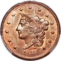 1835 1C Head of 1836, N-8, R.1, MS64+ Red and Brown PCGS. CAC....(PCGS# 37060)
