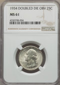 Washington Quarters, 1934 25C Doubled Die Obverse MS61 NGC. NGC Census: (1/55). PCGSPopulation (2/76). Mintage: 31,912,052. ...