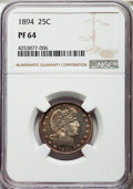Proof Barber Quarters, 1894 25C PR64 NGC. NGC Census: (80/132). PCGS Population (86/76). Mintage: 972. CDN Wsl. Price for problem free NGC/PCGS co...