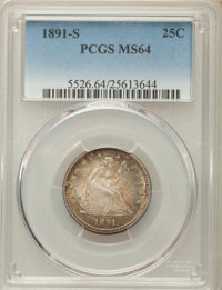 1891-S 25C MS64 PCGS. PCGS Population (41/27). NGC Census: (57/14). Mintage: 2,216,000. CDN Wsl. Price for problem free...