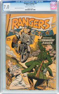 Golden Age (1938-1955):War, Rangers Comics #18 (Fiction House, 1944) CGC FN/VF 7.0 Cream tooff-white pages....