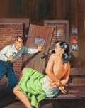 Paintings, American Artist (20th Century). Gang Girl, paperback cover, 1957. Gouache on board. 17 x 13.25 in. (image). Not signed. ... (Total: 2 Items)