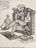 Mainstream Illustration, Arthur Szyk (American, 1894-1951). New Canaan, politicalcartoon, 1948. Ink and pencil on paper. 7 x 5.25 in. (sight).S...
