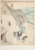 Works on Paper, Edmund Dulac (British, 1882-1953). Black Dog Disappears, Treasure Island interior illustration, 1927. Watercolor and pen...