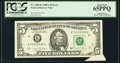 Error Notes:Attached Tabs, Fr. 1980-K $5 1988A Federal Reserve Note. PCGS Gem New 65PPQ.. ...