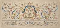 A Framed French Silk and Bullion Embroidered Bed Hanging, 19th century 46 inches high x 89-1/2 inches wide (116.8 x 227...