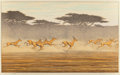 Prints, Toshi Yoshida (Japanese, 1911-1995). Thomson's Gazelles, 1977. Woodblock in colors. 11-3/4 x 19-1/2 inches (29.8 x 49.5 ...