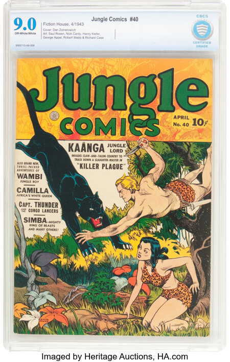 Jungle Comics #40 (Fiction House, 1943) CBCS VF/NM 9.0 Off-white to white pages....