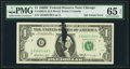 Error Notes:Ink Smears, Fr. 1905-G $1 1969B Federal Reserve Note. PMG Gem Uncirculated 65EPQ.. ...