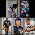 Football Collectibles:Photos, Football Greats Signed Ron Mix Cards Lot of 5....