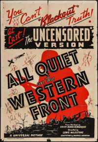 "All Quiet on the Western Front (Universal, R-1938). One Sheet (27"" X 41"") Uncensored Version. Academy Award Wi..."