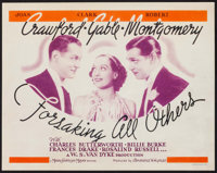 """Forsaking All Others (MGM, 1934). Title Lobby Card (11"""" X 14""""). Comedy"""