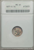 Seated Half Dimes: , 1871-S H10C MS61 ANACS. NGC Census: (6/76). PCGS Population (6/88). Mintage: 161,000. ...