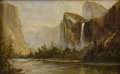 Paintings, THOMAS HILL (American 1829-1908). Yosemite. Oil on canvas. 6-1/2 x 10-1/2 inches (16.5 x 26.7 cm). Signed lower left: ...