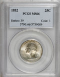 Washington Quarters: , 1932 25C MS66 PCGS. PCGS Population (133/1). NGC Census: (70/2).Mintage: 5,404,000. Numismedia Wsl. Price for NGC/PCGS coi...