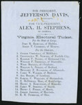 Confederate Notes:Group Lots, Jefferson Davis-Alex. H. Stephens President-Vice President Virginia Electoral Ticket ND (1861).. ...