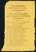 Confederate Notes:Group Lots, Jefferson Davis-Alexander H. Stephens President-Vice President(Virginia) Electoral Ticket ND (1861).. ...