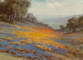 Fine Art - Painting, American:Modern  (1900 1949)  , William Franklin Jackson (American, 1850-1936). Valley ofPoppies and Lupine Along the Coast. Oil on canvas. 8 x 11inch...