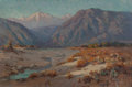 Fine Art - Painting, American:Modern  (1900 1949)  , Benjamin Chambers Brown (American, 1865-1942). Old Baldy and SanGabriel Wash. From Near Azuza. Oil on canvas. 12 x 18 i...