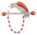 Estate Jewelry:Brooches - Pins, Diamond, Coral, Ruby, Cultured Pearl, White Gold Brooch. ...