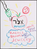 """Music Memorabilia:Autographs and Signed Items, Doodle for Hunger Benefiting St. Francis Food Pantries and Shelters. Rachel Brown, Designer. 9"""" x 12"""". Crayon & Pe..."""