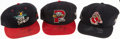 Baseball Collectibles:Hats, 2004-05 Jon Lester Game Worn, Signed Minor League Caps. ...