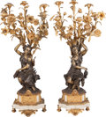 Decorative Arts, French:Lamps & Lighting, A Pair of French Figural Gilt Bronze Six-Light Candelabras, 19thcentury. 32-1/2 inches high (82.6 cm). ... (Total: 2 Items)