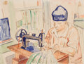 Works on Paper, William Sommer (American, 1867-1949). Mrs. Sommer Sewing, 1936. Watercolor and ink on paper. 8-7/8 x 11-7/8 inches (22.5...
