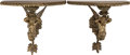 Decorative Arts, French, A Pair of French Brass and Walnut Figural Bracket Shelves, circa1900. 215 x 24-1/2 x 12-3/8 inches (546.1 x 62.2 x 31.4 cm)...(Total: 2 Items)