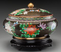 Asian:Chinese, A Monumental Chinese Cloisonné Covered Jar on Stand, 20th century.16 inches high x 20 inches diameter (40.6 x 50.8 cm) (hei...