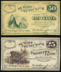 Obsoletes By State:Ohio, Cuyahoga Falls, OH- W.A. Hanford at Summit County Bank 25?; 50?1862 Remainders... (Total: 2 notes)