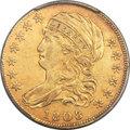 Early Half Eagles, 1808/7 $5 Close Date, BD-2, High R.4, XF45 PCGS....