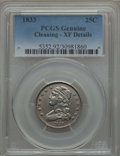 Bust Quarters: , 1833 25C -- Cleaning -- PCGS Genuine. XF Details. NGC Census: (12/122). PCGS Population (43/133). Mintage: 156,000. CDN Wsl...