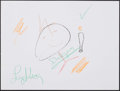 """Movie/TV Memorabilia:Autographs and Signed Items, Doodle for Hunger Benefiting St. Francis Food Pantries and Shelters. Larry King, TV Host. 12"""" x 9"""" . Crayon..."""
