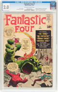 Silver Age (1956-1969):Superhero, Fantastic Four #1 (Marvel, 1961) CGC GD 2.0 Off-white to whitepages....