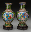 Asian:Chinese, A Pair of Chinese Cloisonné Vases on Stands. 12-1/4 inches (31.1cm) (vase, excluding stand). ... (Total: 2 Items)