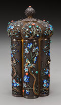 Asian:Chinese, A Chinese Export Silver and Enamel Tea Caddy early 20th century.Marks: SILVER. 6-3/4 inches high x 3-7/8 inches wide (1...