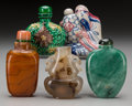Asian:Chinese, A Group of Five Chinese Snuff Bottles. 2-7/8 inches high (7.3 cm)(tallest). ... (Total: 5 Items)