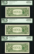 Error Notes:Third Printing on Reverse, Fr. 1922-L $1 1995 Federal Reserve Notes. Three Consecutive Examples. PCGS Graded.. ... (Total: 3 notes)