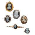 Estate Jewelry:Cameos, Hardstone Cameo, Seed Pearl, Gold, Sterling Silver Jewelry. ...(Total: 6 Items)