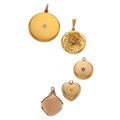 Estate Jewelry:Pendants and Lockets, Diamond, Gold Lockets. ... (Total: 5 Items)