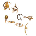 Estate Jewelry:Brooches - Pins, Antique Diamond, Montana Sapphire, Seed Pearl, Gold Brooches. ... (Total: 8 Items)
