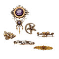 Estate Jewelry:Brooches - Pins, Victorian Multi-Stone, Diamond, Freshwater Cultured Pearl, SeedPearl, Gold Brooches. ... (Total: 6 Items)