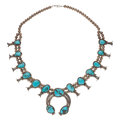 Estate Jewelry:Necklaces, Navajo Turquoise, Silver Squash Blossom Necklace. ...