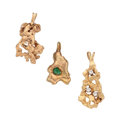 Estate Jewelry:Pendants and Lockets, Diamond, Emerald, Gold Nugget Pendants. ... (Total: 3 Items)