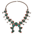 Estate Jewelry:Necklaces, Turquoise, Coral, Silver Squash Blossom Necklace. ...
