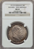 German States:Bavaria, German States: Bavaria. Luitpold Certified 3 & 5 Mark 1911-DCoins,... (Total: 2 coins)