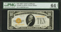Small Size:Gold Certificates, Fr. 2400 $10 1928 Gold Certificate. PMG Choice Uncirculated 64 Net.. ...